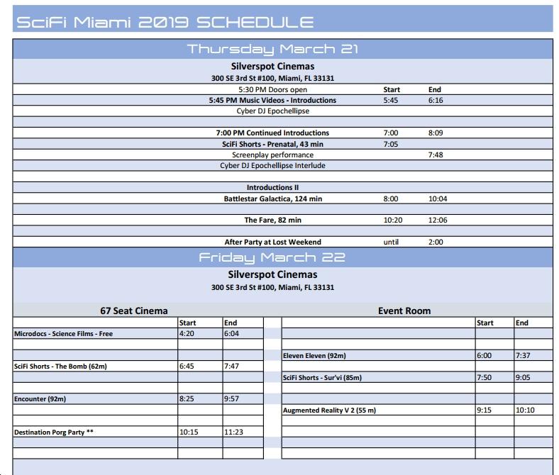 SciFi Miami Schedule -1