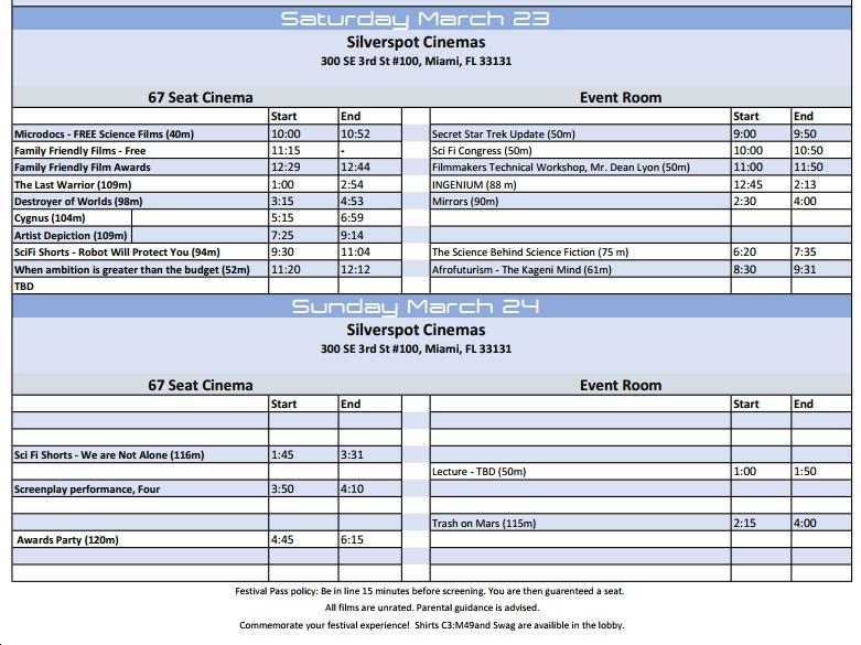 SciFi Miami Schedule -2